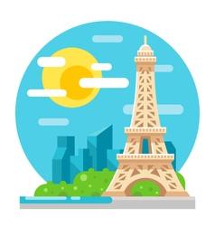 Eiffel tower flat design landmark vector image