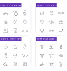 Fitness workout gym diet training icons set vector