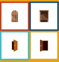 Flat icon door set of saloon approach wooden vector