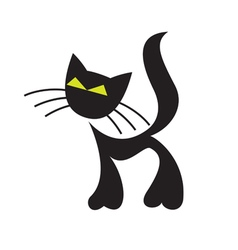 Funny black cat with big mustache vector