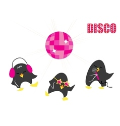 Funny cartoon disco penguins vector