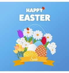 Happy easter card with grass flowers poster vector