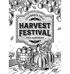 Harvest Festival Poster Black And White vector image