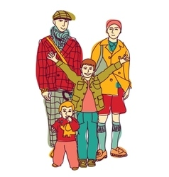 Homosexual gay lgbt family couple and kids vector