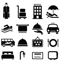Hotel icons vector image vector image