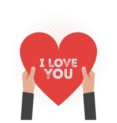 I love You Lettering Card Hold Hands vector image vector image