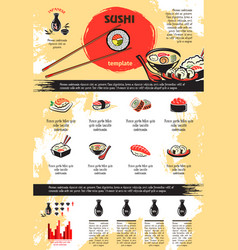 Infographics for japanese sushi seafood vector