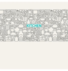 Kitchen Utensils Line Art Seamless Web Banner vector image vector image
