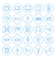 line circle household icons vector image