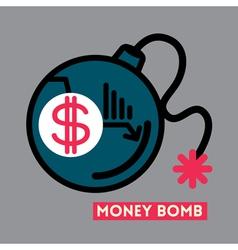 Money bomb dollar crisis concept vector