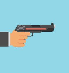 Picture of human hand with gun flat style vector