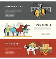 Popular horses breeds horizontal banners set vector