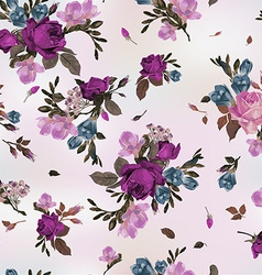 Seamless floral pattern with purple and pink roses vector image