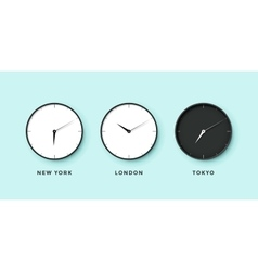 Set of day and night clock for time zones vector image vector image