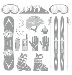 Set of skiing and snowboarding vector