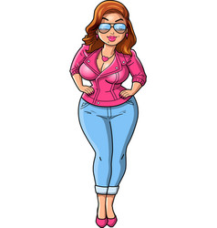 sexy curvy bbw woman cartoon pink leather jacket vector image vector image