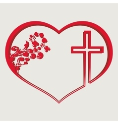Silhouette of heart with a cross vector