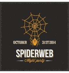 Spider web night halloween party card or a vector
