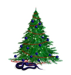 The serpent and the festive fir-tree vector image vector image