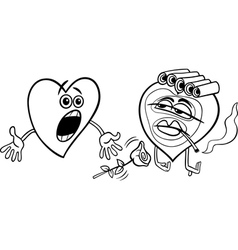 Two hearts cartoon coloring page vector