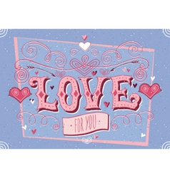 Valentines day blue card vector