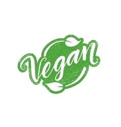 Vegan stamp with hand drawn lettering isolated on vector image