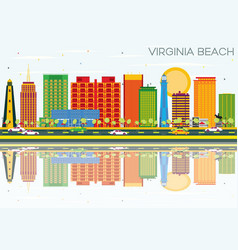 virginia beach skyline with color buildings vector image vector image