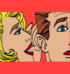 Woman whispering in mans ear drawing vector