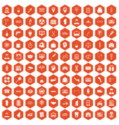 100 business day icons hexagon orange vector