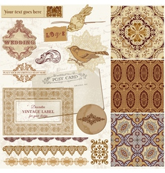 Persian Tiles and Birds vector image