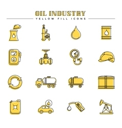 Oil industry and energy yellow fill icons vector