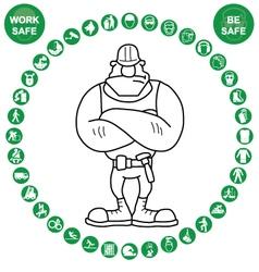 Green circular health and safety icon collection vector
