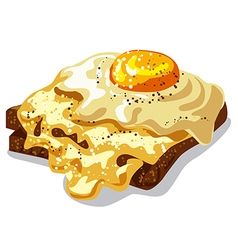 Toast with fried egg vector