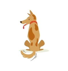 Brown pet dog turned its back sulking animal vector