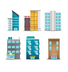 Building city symbol icons set vector
