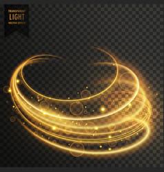 Golden curvy transparent light effect with vector