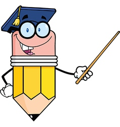 Pencil teacher with graduate hat holding a pointer vector