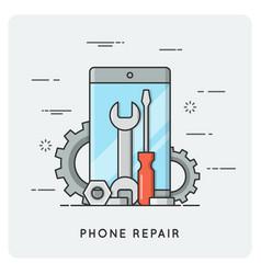 Phone repair flat thin line concept vector