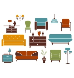 Furniture and interior design elements vector
