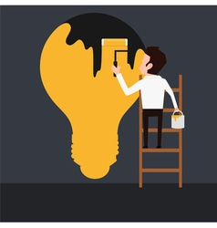 Businessman painting dark light bulb vector