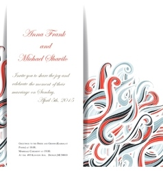Curl abstract wedding card with multicolored waves vector