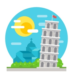 Leaning tower of pisa flat design landmark vector