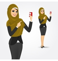 Modern arabic woman holding a credit card vector