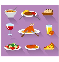Dinner icon set vector