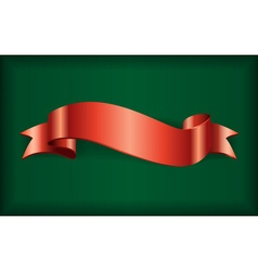 Red ribbon satin bow green vector