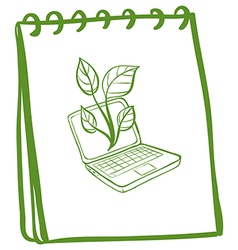 A notebook with a sketch of a laptop at the cover vector image vector image