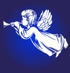 angel flies and plays the trumpet religious vector image vector image