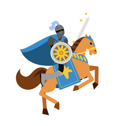 Armed knight riding horse medieval character vector