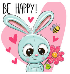 be happy greeting card with rabbit vector image vector image