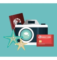 Camera photography travel vacation design vector